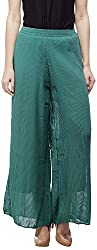 Peptrends Women's Loose Fit Pallazos (PL150196GN_F, Green, F)