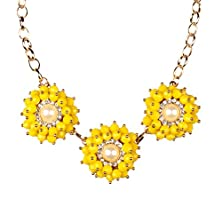 buy Sunifsnow Women Fancy Style Exquisite Pearl Inlay Yellow Flower Alloy Necklace