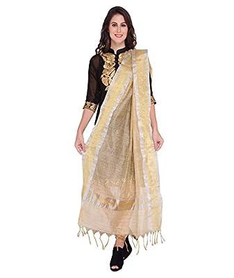 Dupatta Bazaar Women's Silk Dupatta (DB0953_Tussar::Gold_Free Size)