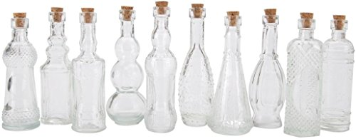 Darice 70-Piece Assorted Glass Bottle, 5-Inch, Clear