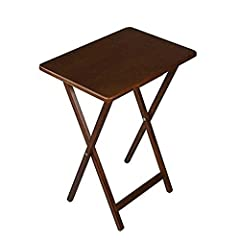 Folding TV Tray Features Sturdy, Solid Wood Construction & Walnut Top Finish. Folds Up Easily To Store. Write, Type, Eat & Craft On This Elegant, Convenient, Space-Saving, Folding Table - It