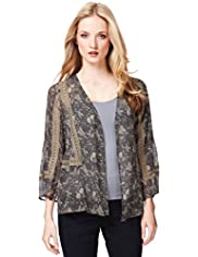 Indigo Collection Bird Print Cover-Up Top