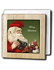 BLN Vintage Christmas Illustration Reproductions - Santa Clause with Binoculars and a Bag of Presents on Green Background - Tile Napkin... by 3dRose