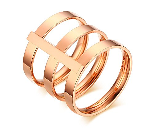 Vnox Womens Girls Stainless Steel Knuckle Ring,Rose Gold,Size 8 (Rose Tone Stainless Steel Rings compare prices)