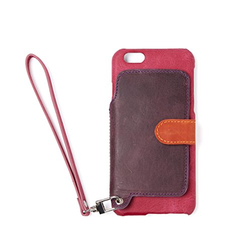 RAKUNI (ラクニ) iPhone 6/6s用 本革 背面ポケット 財布型 ストラップ付き レザーケース(スタンド機能) (iPhone6/6s, ラズベリー, ピンク濃紫)