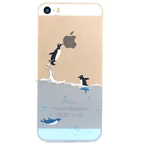 JIAXIUFEN TPU Gel Silicone Protettivo Skin Custodia Protettiva Shell Case Cover Per Apple iPhone 5 5S - Flying Penguin
