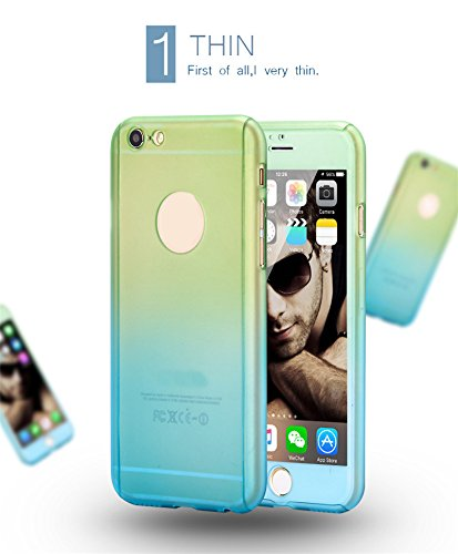 iPhone 6/6S Protezione a tutto tondo Custodia 360 gradi protezione case gradiente covers Piena coverage custodia rigida Ultra leggero e Ultra sottile con temperato Glass Screen Protector per iPhone 6/6 S (4.7 pollici) (Green+Blue)