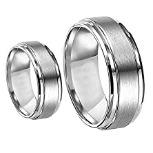buy Men & Women'S 8Mm/6Mm Brushed Center Shiny Edge Cobalt Chrome Wedding Band Ring Set (Available Sizes 6-12 Including Half Sizes) Please E-Mail Sizes