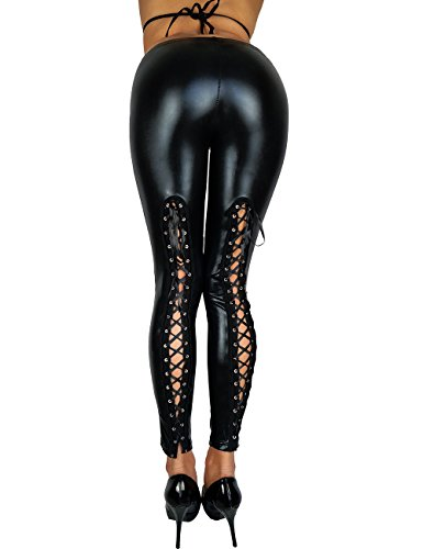 Wetlook Leggings PASSION - Schwarz