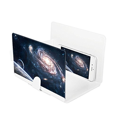 I3C Cellphone Screen Magnifier Cell Phone Enlarger 3D HD Movie Video Amplifier Foldable Holder Stand for iPhone 6 6s Plus, Samsung Galaxy Note5 4 3 S6 Edge All Smart Phones - White