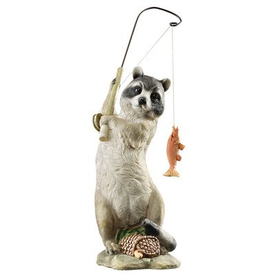 Design Toscano QM2374600 The Masked Fisherman Raccoon Statue, Multicolored image