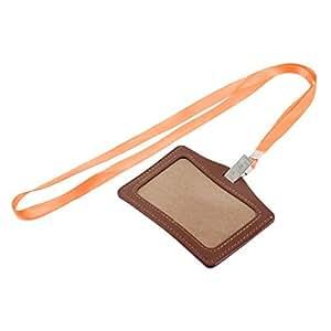 Faux Leather Horizontal Work School ID Card Badge Holder Brown Orange