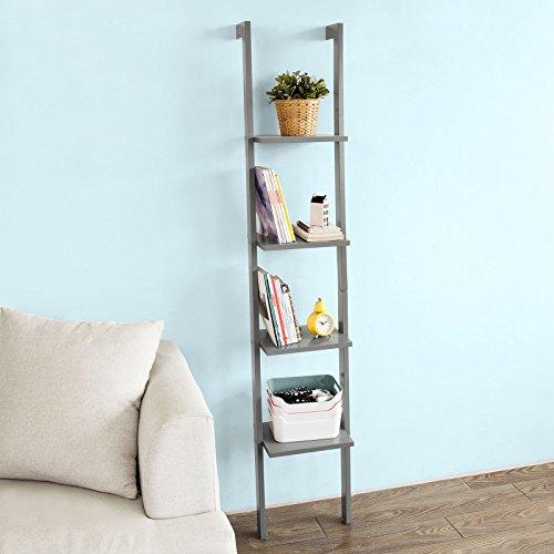 SoBuy Modern ladder bookcase made of wood with four floors,book shelf, stand shelf, wall shelf, 12.99inch x 70.87inch, FRG15-HG