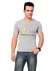 TEXCO Men's Round Neck Cotton T-Shirt (Grey)