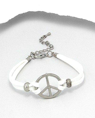 Designer Jewellery - White Faux Suede Peace Symbol Bracelet