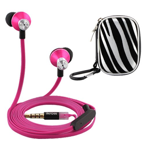 Ikross In-Ear 3.5Mm Noise-Isolation Stereo Earbuds With Microphone (Hot Pink / Black) + Zebra Accessories Carrying Case For Apple Iphone 6, 5S 5C 5 Cellphone Smartphone Tablet And Mp3 Player