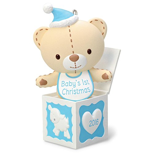 Hallmark 2016 Baby Boy's First Christmas Teddy Bear in the Box Ornament