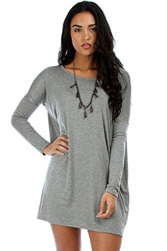 2Luv Women'S Oversized Long Sleeve Tunic Dress Grey S/M(D1804)
