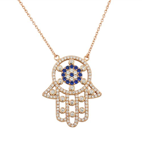 Sterling Silver Evil Eye Hamsa White Blue Crystals Cz Large Womens Pendant Necklace (Rose Gold Plated)