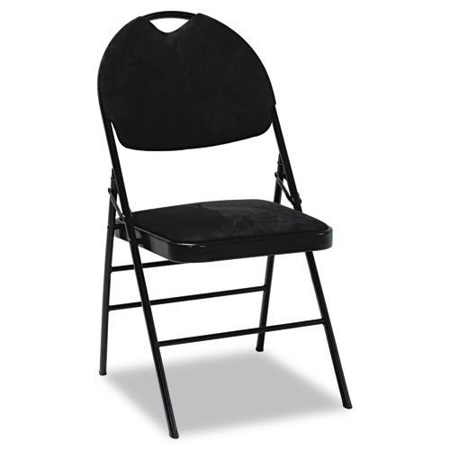Deluxe Padded Fabric Folding Chair - BLACK