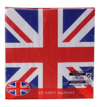 Union Jack (British Flag) Disposable 2ply Paper Napkins-pack 20 (Napkins British compare prices)