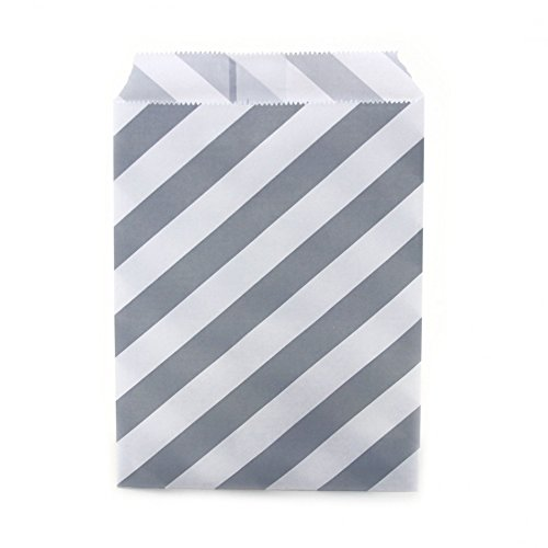 Dress My Cupcake 24-Pack Party Favor Bags, Striped, Gray (Popcorn Bag Cupcake compare prices)