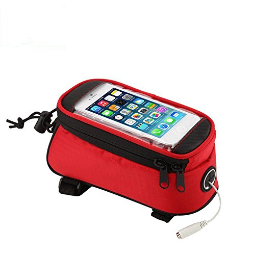 JOY COLORFUL Bicycle Bags Bicycle Front Tube Frame Cycling Packages 4.2,4.8,5.5 inches Touch Screen Mobile Phone Bags Professional Bicycle Accessories (Red, Large) (Cycling Bags compare prices)
