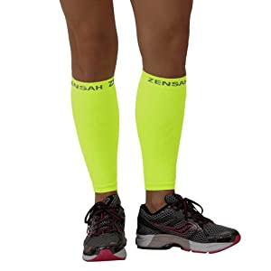 Zensah Compression Leg Sleeves - Yellow, Large/X-Large