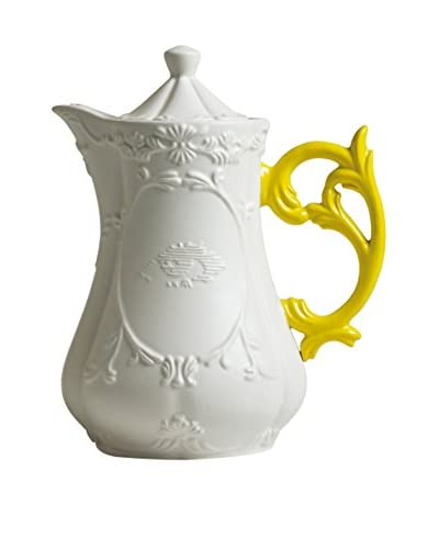 Seletti Teapot in Porcelain, Yellow/White