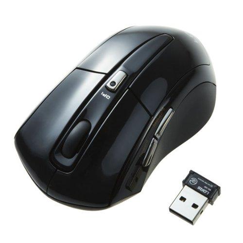 【Amazonの商品情報へ】LOAS サイドボタンの「戻る」「進む」操作でホームページの閲覧が便利な5ボタン2.4GHzワイヤレスマウス 分解能800dpi/1600dpi切替可能 ミドルサイズ ブラック MUS-RKF79BK