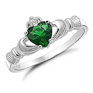 Emerald Heart CZ Sterling Silver Claddagh Ring
