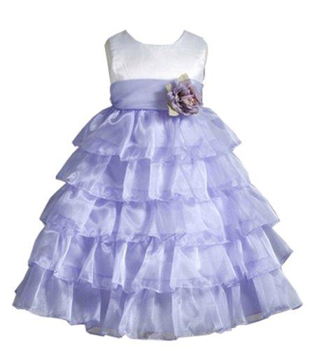 Bethany Contrast Ruffle Organza Flower Girl Dress For Infants Fancy Dress Color: White-Purple Dress Size: 18M (18 Months)