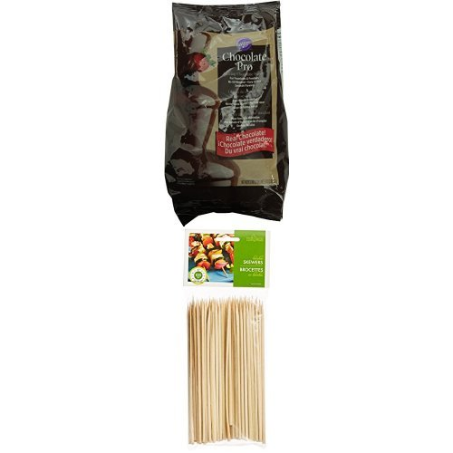 Wilton W2618 Fondue Chocolate Wafers and Fox Run Brands Bamboo Skewers Bundle