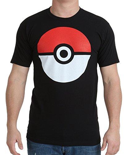 Pokemon Poke Ball Adult Black T-Shirt (Adult Large)