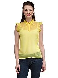 Estellin Butterfly Sleeve Georgette Top (Large, Light Yellow)