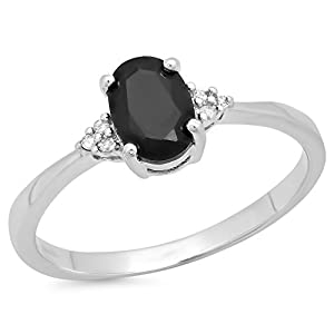 1.03 Carat (ctw) Sterling Silver Oval Black Sapphire & Round Diamond Accents Bridal Promise Ring 1 CT