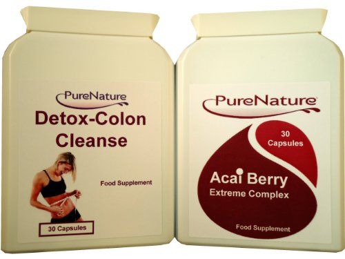 Acai Berry Extreme Complex Fat Burners, Weight Loss, Diet Slimming Pills & Colon Cleanse - Detox Combo