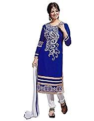 Aarti Lifestyle Women's Chanderi Silk Embroidered Blue Unstitched Salwar Suit