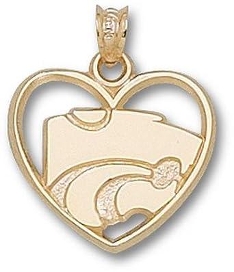 Kansas State Wildcats Power Cat Heart Pendant - 14KT Gold Jewelry by Logo Art