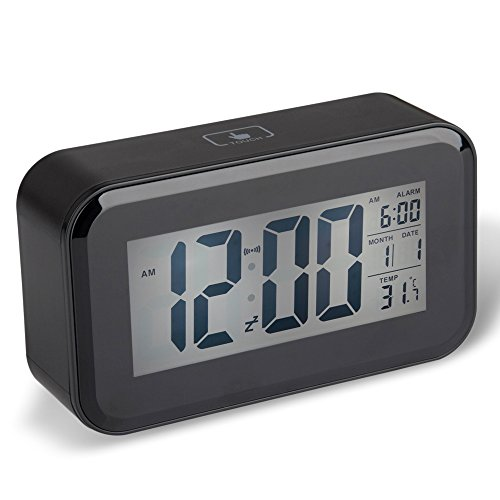 DreamSky Advance Digital Alarm Clock With Backlit Large Screen Bedside Alarm Clocks With Snooze Function ,Time/Date/Temperture Display , Light Activated Night Light ,Easy To Set Portable lightweight Size Travel Alarm Clocks