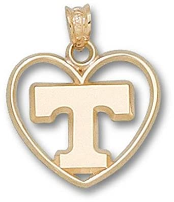Tennessee Volunteers Power T Heart Pendant - 14KT Gold Jewelry by Logo Art
