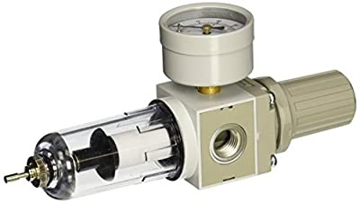 "PneumaticPlus SAW2000M-N02BDG Miniature Compressed Air Filter Regulator Combo Piggyback 1/4"" NPT - Poly Bowl, Auto Drain, Bracket, Gauge"