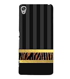 Golden Line Zebra Pattern 3D Hard Polycarbonate Designer Back Case Cover for Sony Xperia XA :: Sony Xperia XA Dual
