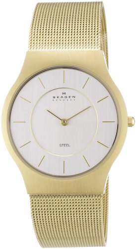 Skagen Mens Watch 233LGG with Gold Stainless Steel Bracelet and Silver Dial