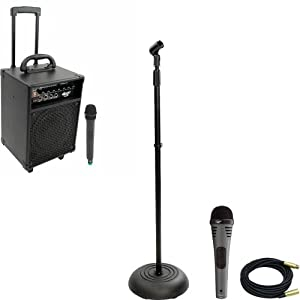 Pyle Speaker, Mic, Stand and Cable System Package for your Studio, Concert, Stage, Performance, Bar, Home, etc. - PWMA230 200W VHF Wireless Battery Powered PA System - PDMIK2 Professional Moving Coil Dynamic Handheld Microphone - PMKS5 Compact Base Black Microphone Stand - PPMCL30 30ft. Symmetric Microphone Cable XLR Female to XLR Male