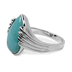 Kingman Blue Green Turquoise Pear Shape Ring