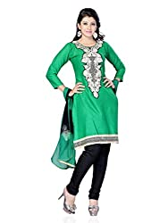 Diva Fusion Womens Cotton Straight Semi-Stitched Dress Material (Dfa100 _Green)