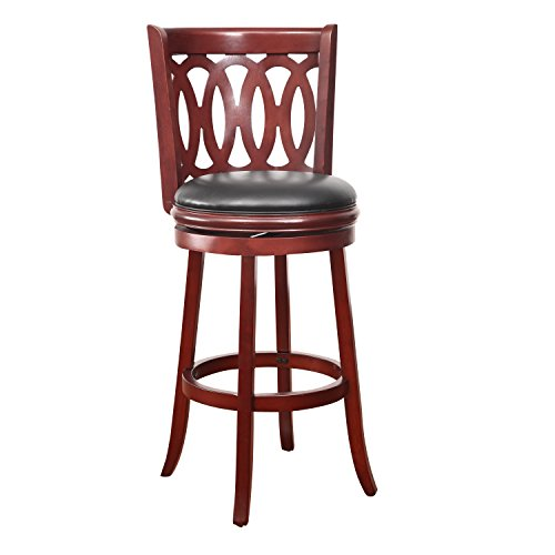 Adeco Walnut-Color Wood And Leatherette Cushioned Bar Stool Interlocking Circles Chair Back Design, Swivel Base, Curved Leg front-945662