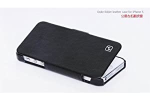 GENUINE HOCO Duke Royal REAL Leather FOLDER Case Cover for Apple iPhone 5 - BLACK