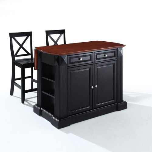 Crosley Furniture Drop Leaf Breakfast Bar Top Kitchen Island in Black Finish with 24-Inch Black X-Back Stools at Sears.com